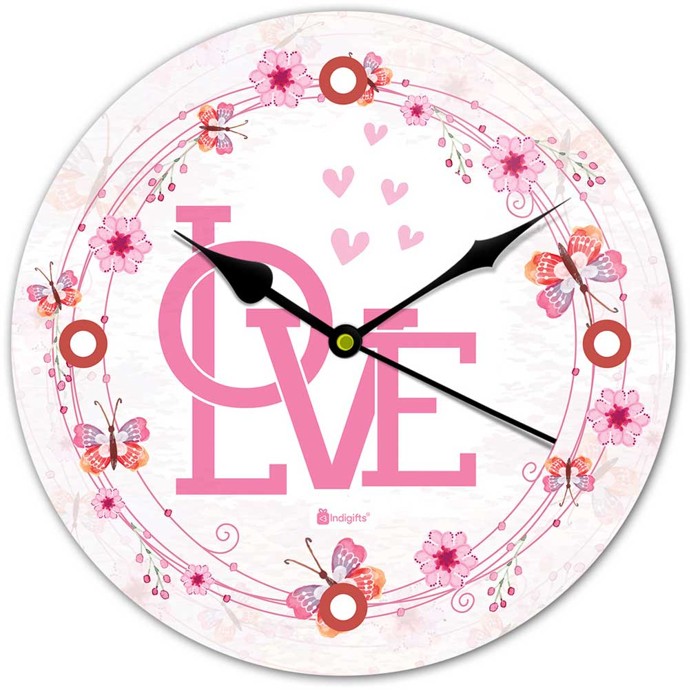 Valentine Themed Floral Artwork White Wall Clock