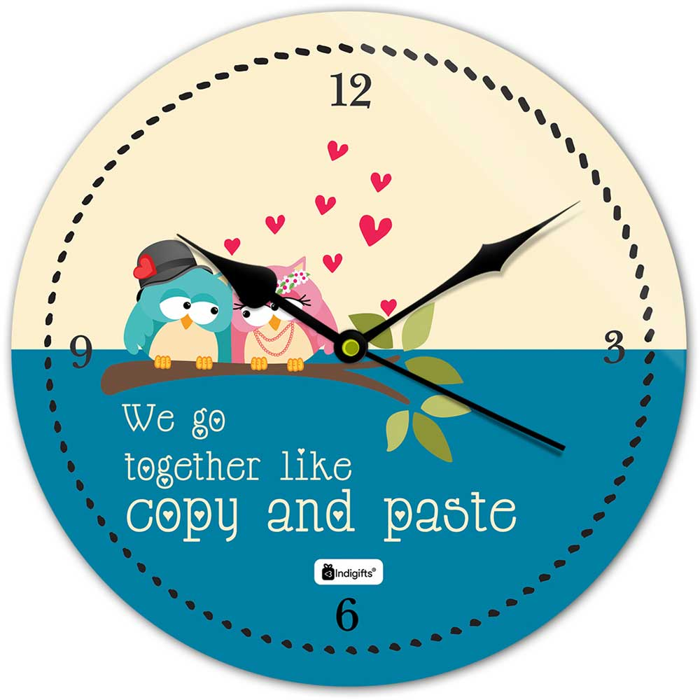 Indigifts Cute Love Birds Blue Wall Clock