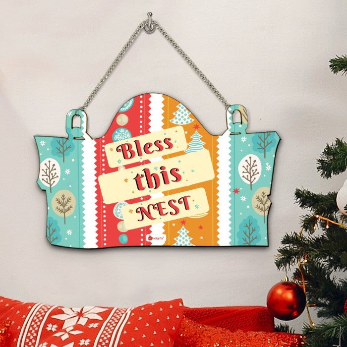 Christmas House Decoration Bless This Nest Printed Blue Wall, Wooden Door Sign