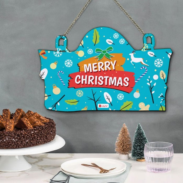 Christmas Home Decoration Items Merry Christmas Printed Blue Wall Hanging, Christmas Gift Idea