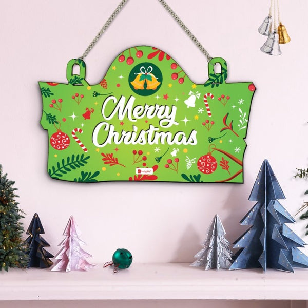 Christmas Home Decoration Items Merry Christmas Printed Green Wall Hanging, Christmas Gifts