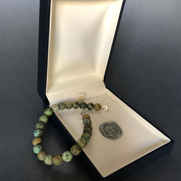 [color] e.baran Sterling Silver Spiritual Beads Bracelet - African Turquoise (matte) [variant]