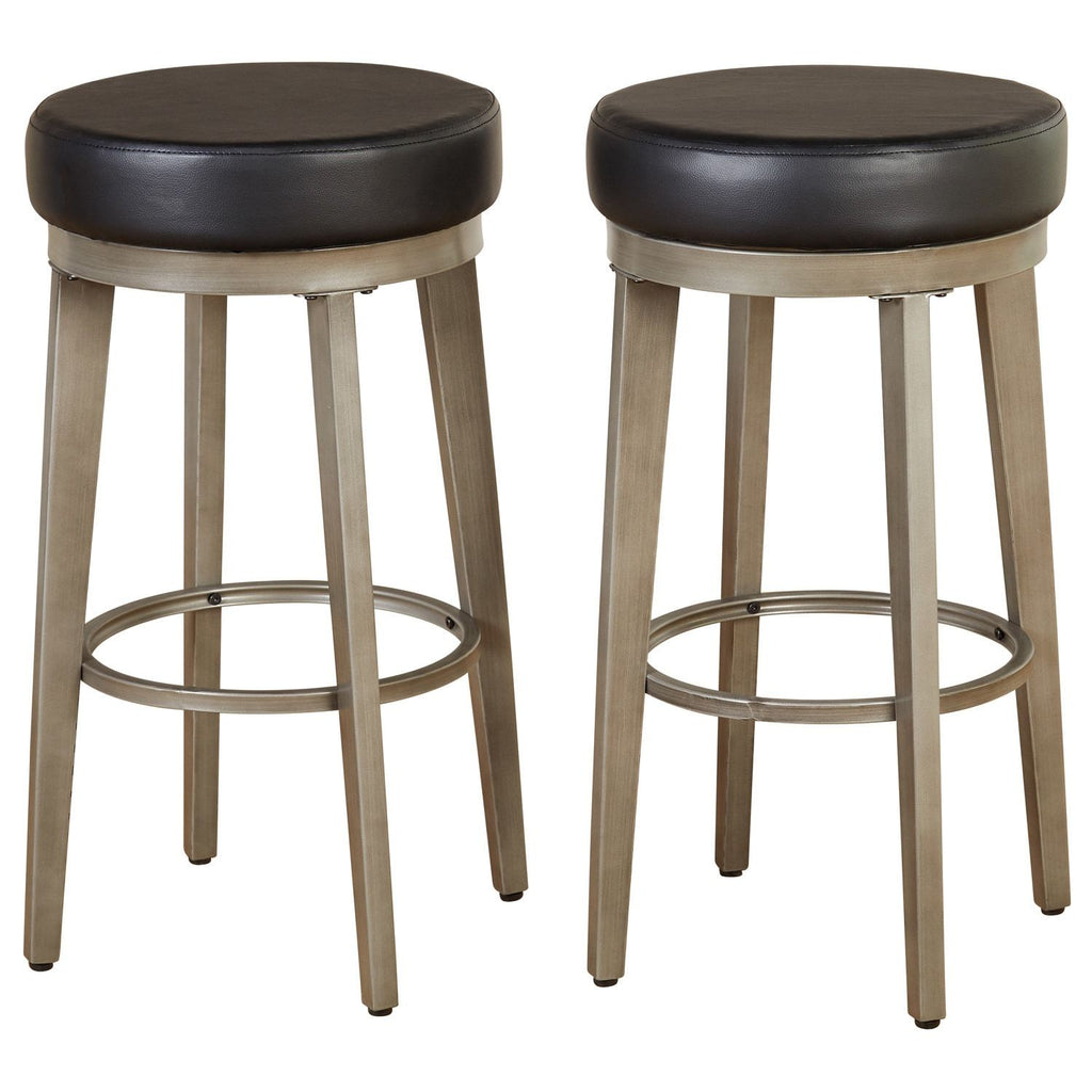[color] angelo:HOME Swivel Stools - Linden Leather set of 2 (black) [variant]