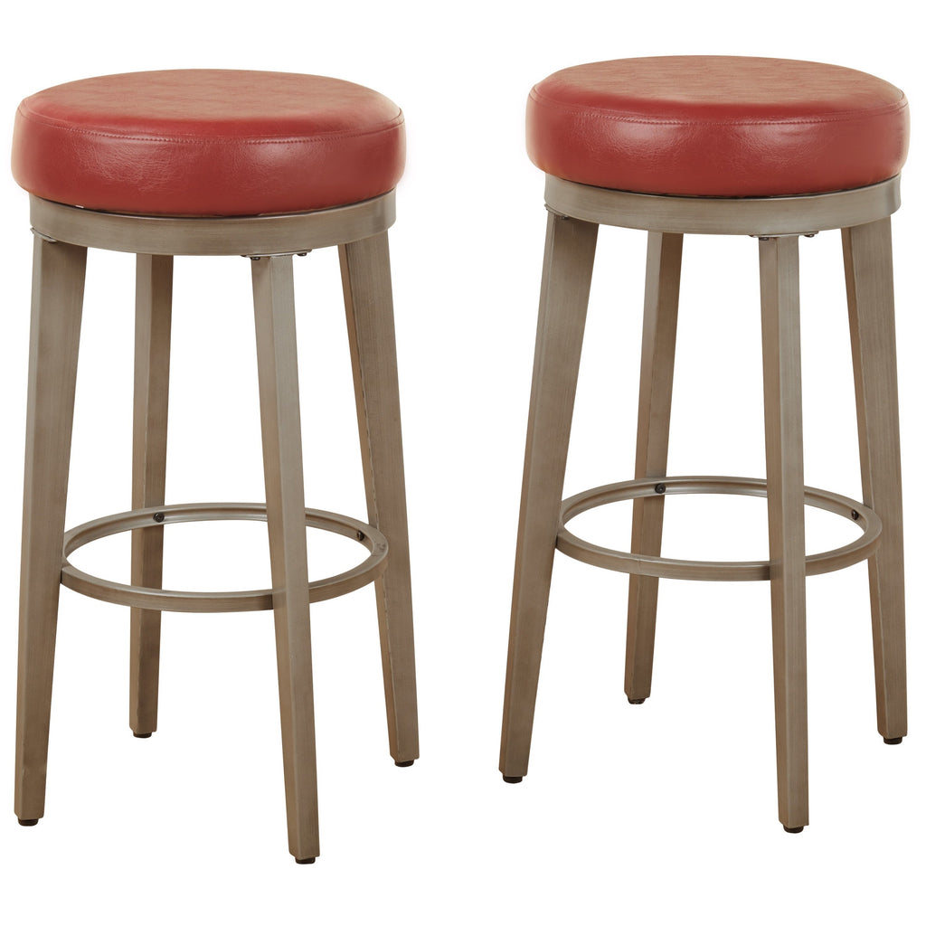 [color] angelo:HOME Swivel Stools - Linden Leather set of 2 (red) [variant]