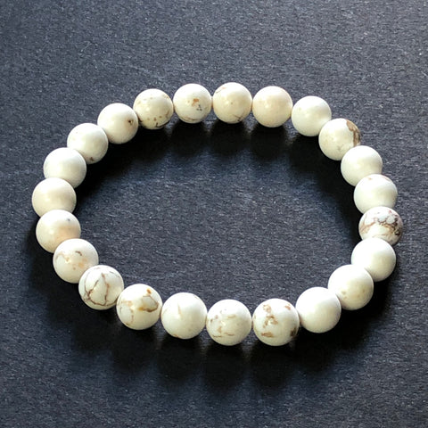 [color] e.baran Spiritual Beads Stretch Bracelet - White Howlite [variant]