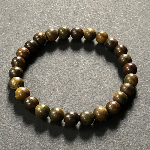 [color] e.baran Spiritual Beads Stretch Bracelet - Natural Rosewood (matte) [variant]
