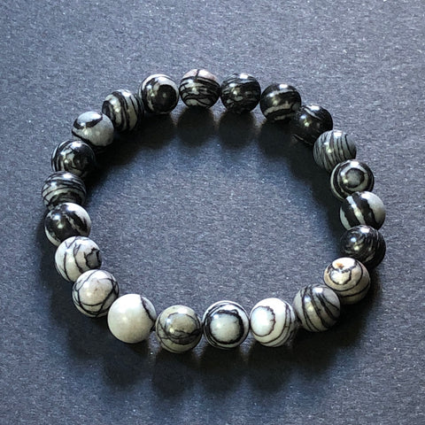 [color] e.baran Spiritual Beads Stretch Bracelet - Black Network Zebra [variant]