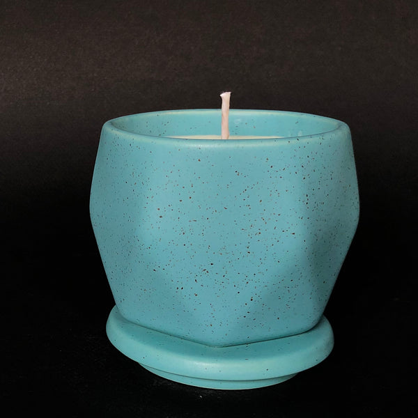 [color] e.baran - Limited Edition Handmade Pottery Candle - Hex Mug - Vintage Leather [variant]
