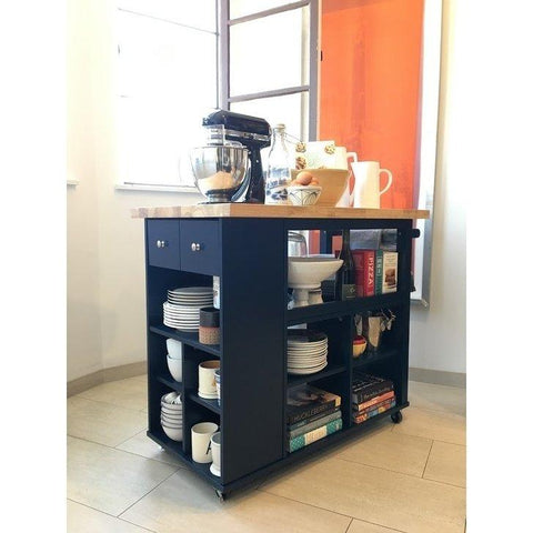 [color] angelo:HOME Kitchen Island/Cart - Boston (Navy) [variant]