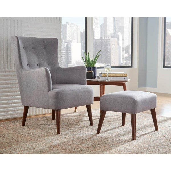 [color] angelo:HOME Arm Chair & Ottoman Set - Jane (grey) [variant]