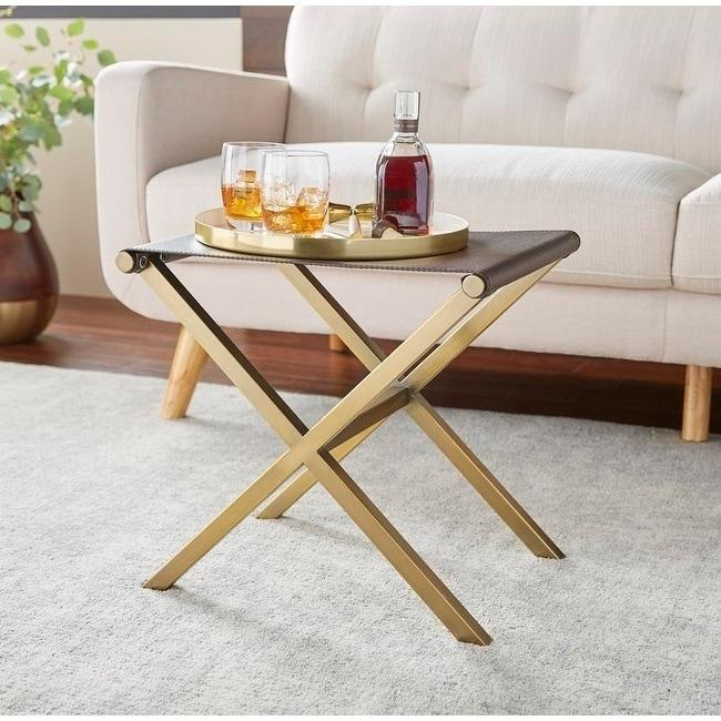 [color] angelo:HOME Ottoman/Stool/Table - Thad (brown/gold) [variant]