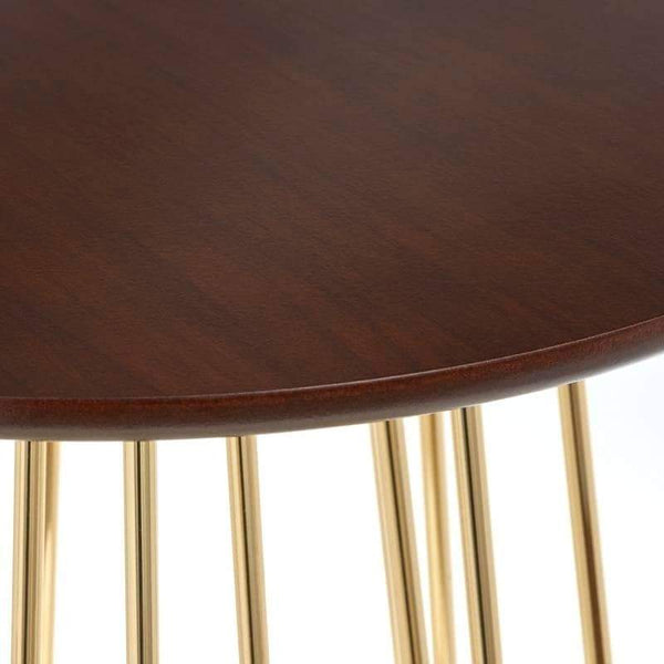 [color] angelo:HOME End Table - Yvonne (walnut/gold) [variant]