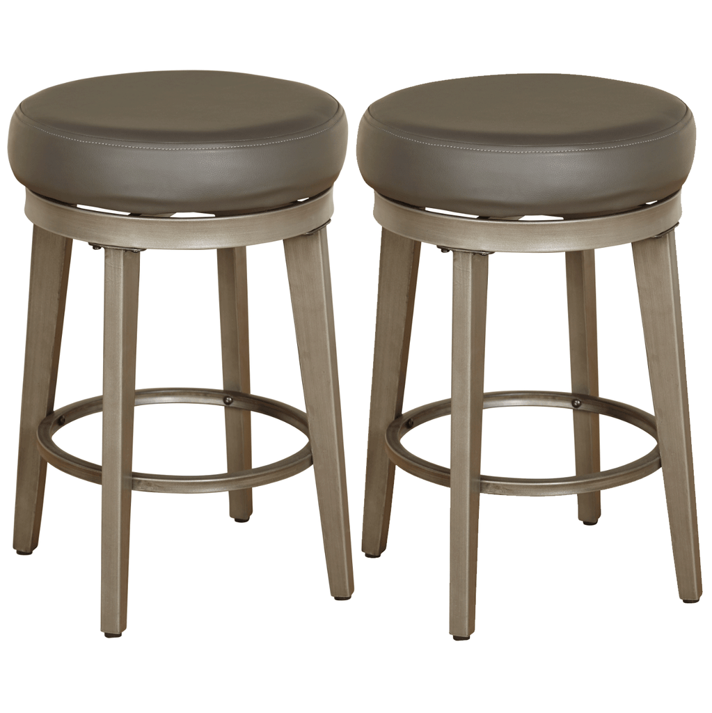 [color] angelo:HOME Swivel Stools - Linden Leather set of 2 (grey) [variant]