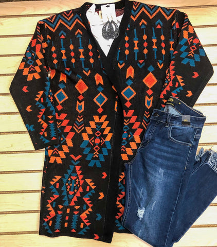 Black Multicolor Aztec Sweater