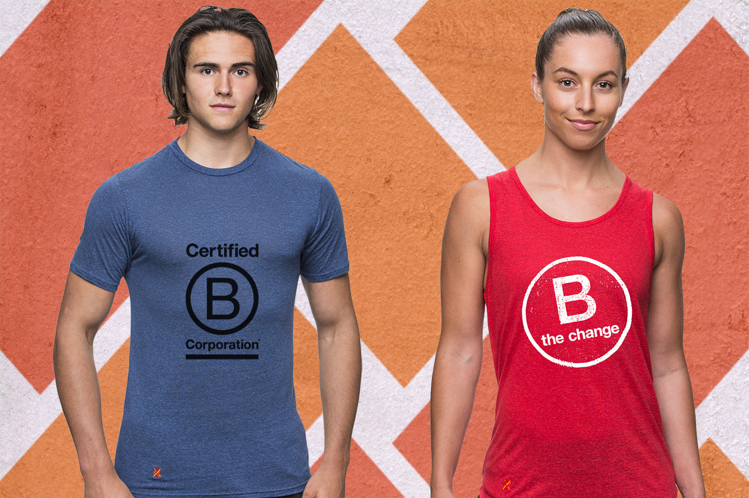 Two athletes, Male wearing a blue t-shirt with B Corporation logo on it and Female wearing a red singlet with a B Corporation logo.