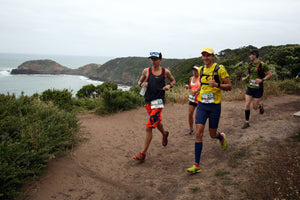 Ultra runner and Kusaga Athletic athlete wearing the EDODRY® racerback with three other runners during the Two Bays Trail Run, on the Mornington Peninsula.