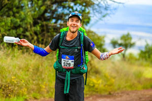 Ultra runner and Kusaga Athletic athlete Phil Dernee smiling during the Mauna to Mauna multi day race event in Hawaii