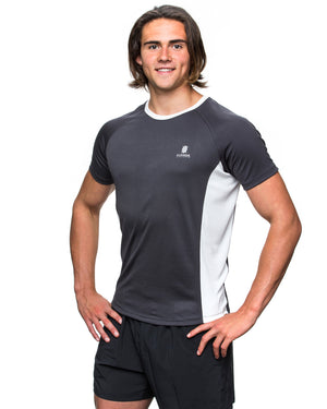 Men's ECODRY® Panel Run Tee in black and white by Kusaga Athletic