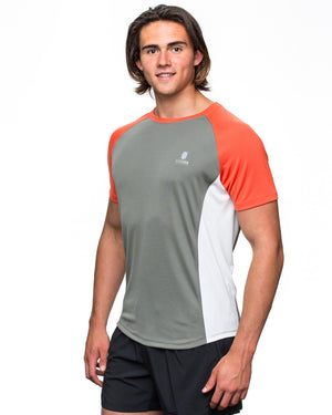 Men's ECODRY® Panel Run Tee in grey, flame and white by Kusaga Athletic