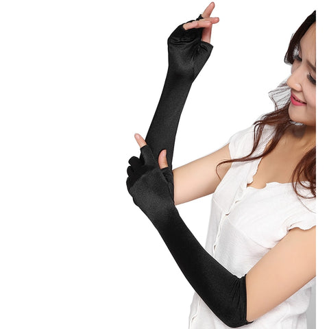 Gothic gloves - Gothic fingerless satin gloves elbow length for women goth punk clothing - black - mommyfanatic
