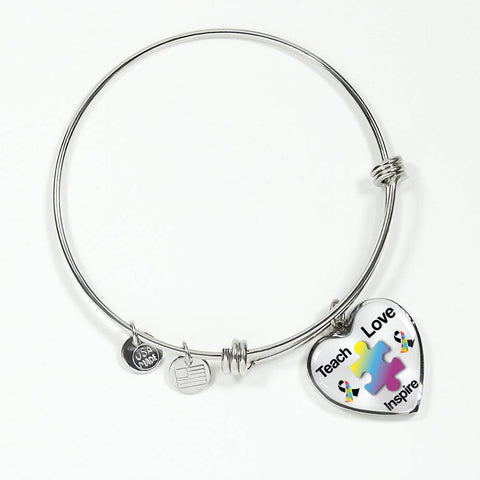 Autism Awareness stainless heart pendant bangle - mommyfanatic