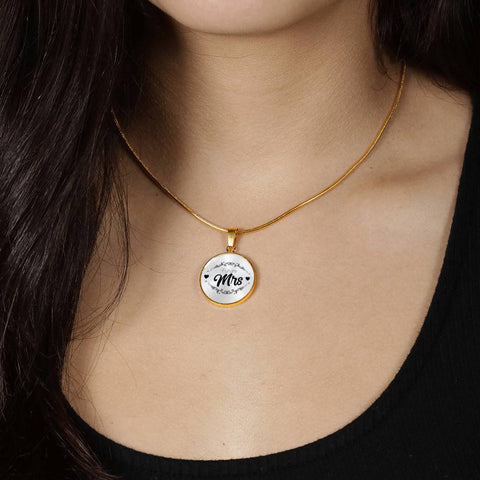Future Mrs wife husband love Gold Plated Circle Pendant snake chain - mommyfanatic