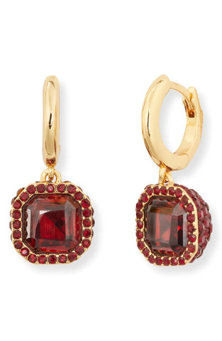 Womens trendy drop earrings pave huggie hoop dangle - ruby - mommyfanatic
