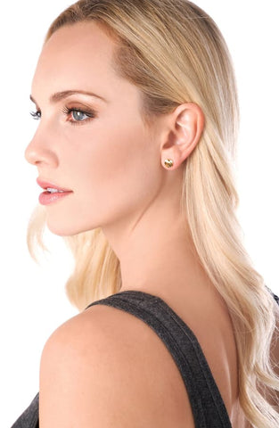 Image of Small dainty Stud Earrings sterling silver & gold half hoop diameter set - mommyfanatic