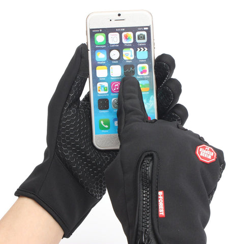 Image of Touch Screen Full Finger Gloves Windproof Bicycle Bike Gloves Winter Outdoor Sports Gloves S M L XL 4 Size Black - mommyfanatic
