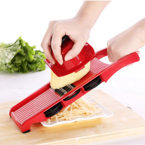 Image of Mandoline vegetable slicer - pro vegetable slicer multifunction handheld cheese shredder cutter grater potato peeler - mommyfanatic