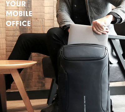 Multifunctional backpack - anti-theft usb backpack with charging port mens business fashion carry on smart luggage - black - mommyfanatic