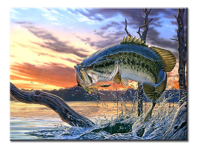 Large Mouth Bass  XL Panel Wall Art - mommyfanatic
