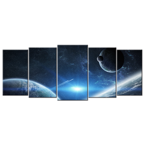 Group Of Planets 5 Panels XL Wall Art - mommyfanatic