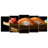 Sushi On A Plate 5 Panels Wall Art - mommyfanatic