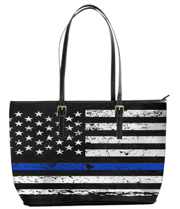 Tote bag - Tote leather handbag large canvas for work & school teaches thin blue line flag apparel wholesale - black - mommyfanatic