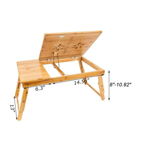 Small - laptop bamboo desk adjustable foldable mobile for bed/couch tilting drawer - mommyfanatic