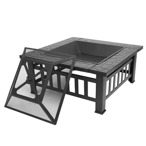 Metal - wood/log burning small square fire pit outdoor living backyard patio ideas - mommyfanatic