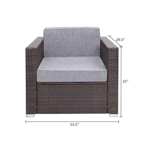 Outdoor armchair resin Poly Rattan Wicker brown sofa chair patio furniture - mommyfanatic