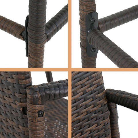 Image of Outdoor Wicker Bar Stool Set of 2 Rattan Bar stools Dining Chair Garden Club - mommyfanatic