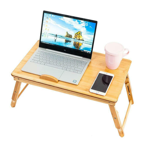 Image of Small - laptop bamboo desk adjustable foldable mobile for bed/couch tilting drawer - mommyfanatic