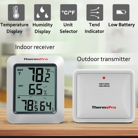 Image of Accurate thermometer hydrometer indoor outdoor wireless humidity sensor - mommyfanatic