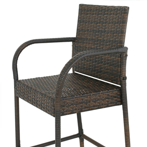 Outdoor Wicker Bar Stool Set of 2 Rattan Bar stools Dining Chair Garden Club - mommyfanatic