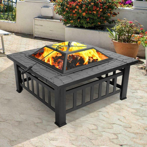 Image of Metal - wood/log burning small square fire pit outdoor living backyard patio ideas - mommyfanatic