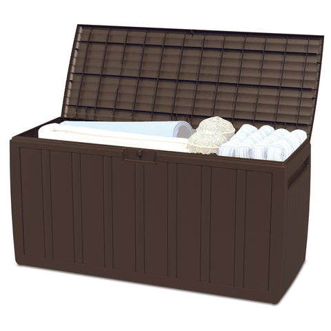 Image of Outdoor Storage waterproof deck box 71 gallon Patio furniture - Brown - mommyfanatic