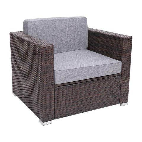Image of Outdoor armchair resin Poly Rattan Wicker brown sofa chair patio furniture - mommyfanatic