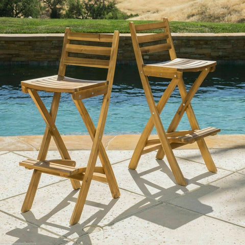 Atlantic 31-Inch outdoor folding wood counter bar stools with backs Set of 2 - mommyfanatic