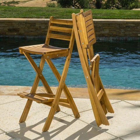 Image of Atlantic 31-Inch outdoor folding wood counter bar stools with backs Set of 2 - mommyfanatic