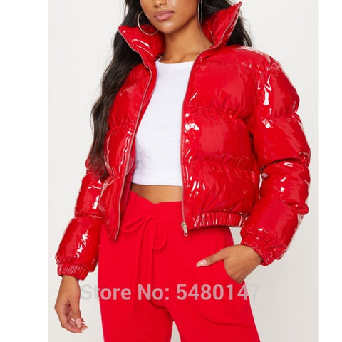 Pink -  Shiny Vinyl cropped puffer jacket women's - mommyfanatic