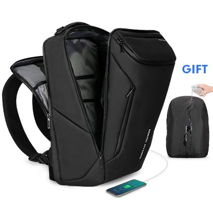 Image of Multifunctional backpack - anti-theft usb backpack with charging port mens business fashion carry on smart luggage - black - mommyfanatic