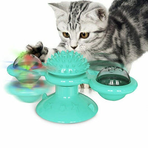 Windmill Cat kitten Toy LED light up motion ball interactive spinner - mommyfanatic